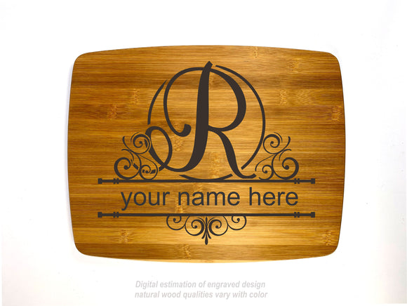 Monogram letter R personalized name bamboo custom engraved cutting board