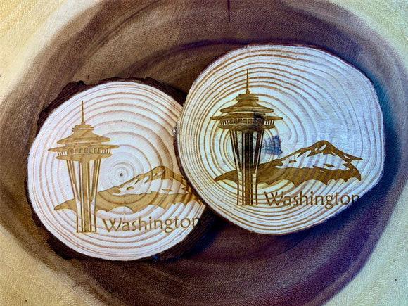 Seattle skyline wood coaster