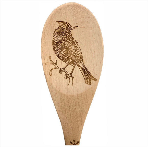 Bird natural wood spoon serving cooking utensil