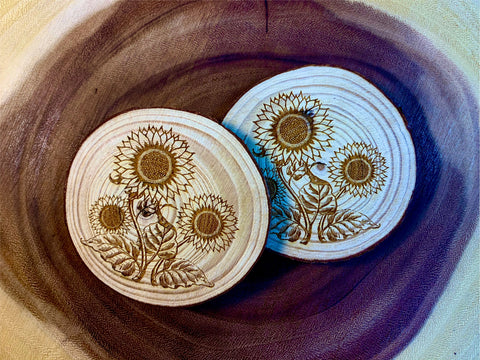 Sunflowers wood coaster