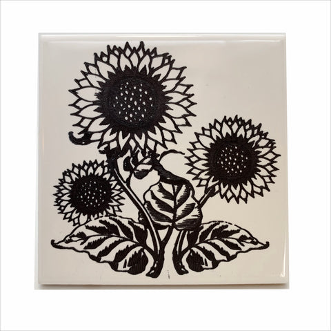 Sunflowers ceramic coaster