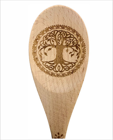 Tree of life natural wood spoon serving cooking utensil