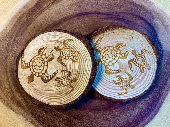 Turtles swimming wood coaster