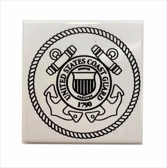 US Coast Guard logo ceramic coaster
