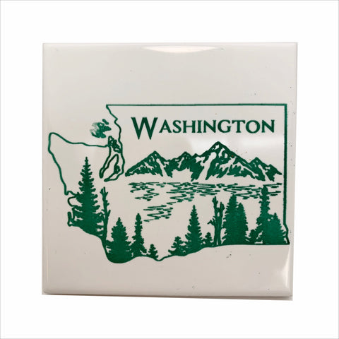 WA state line scenery green color ceramic coaster