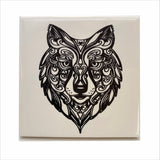 Wolf gazing ceramic coaster