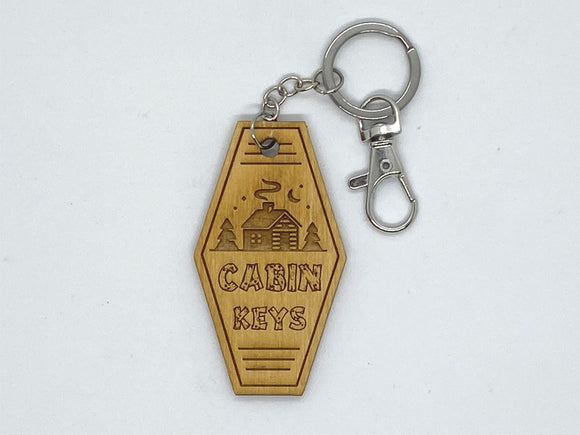Cabin keys keychain wood engraved stainless steel ring with clasp