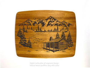 Cabin on the river with mountains bamboo custom engraved cutting board