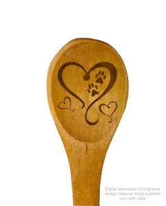 "Hearts with precious paw prints wooden spoon 5"" with custom art engraved"