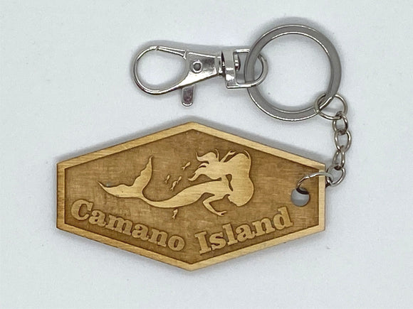 Camano Island WA mermaid custom keychain wood engraved stainless steel ring with clasp