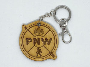 PNW arrow bigfoot custom keychain wood engraved stainless steel ring with clasp