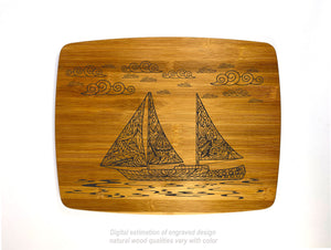 Sailing under the clouds bamboo custom engraved cutting board