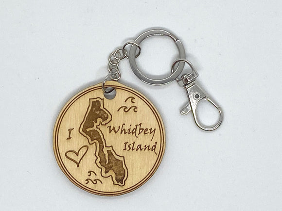 Whidbey Island WA love custom keychain wood engraved stainless steel ring with clasp