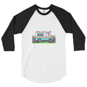 "SOUTH SHORE SUMMER CLASSIC ""ICE CREAM TRUCK""  3/4 sleeve raglan shirt LIMITED EDITION PRINT"