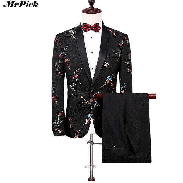 (Jacket+Pants) Black Flower Suits Slim Vintage Designer Party Tuxedo, Suits - Blueprint Couture Store