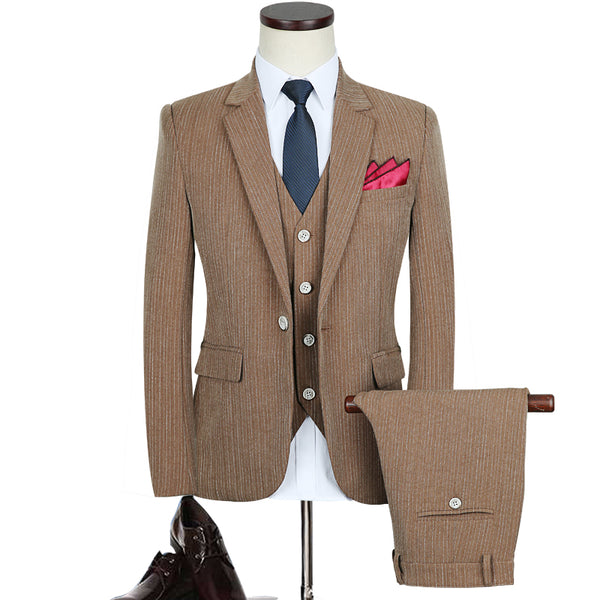 3pc Slim Fit Striped Blazer Set, Suits - Blueprint Couture Store