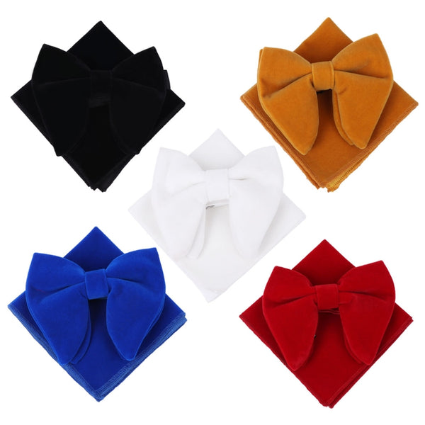 Unique Velvet Bowties Sets Matching Handerchief, [product type] - Blueprint Couture Store