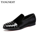 Tangnest Luxury Velvet Pointed Toe Rivets Oxfords, [product type] - Blueprint Couture Store