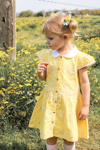 Country Lane Eyelet Dress ~ Yellow