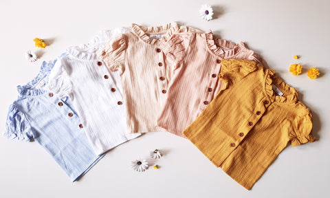 Broderie Blouses ~ White, Oat, Peachy, Mustard, and Blue