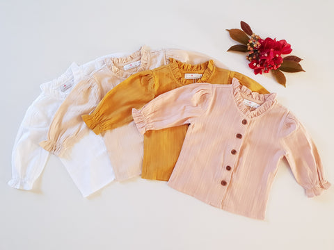 Broderie Blouses Long Sleeved ~ White, Oat, Peachy, and Mustard