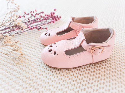 Madeline T-Bar Shoes ~ Baby Pink