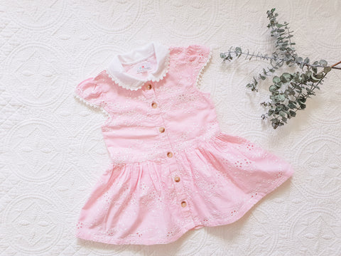Country Lane Eyelet Dress ~ Pink