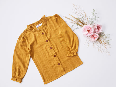 Broderie Blouse Long-Sleeved ~ Mustard
