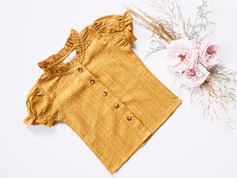 Broderie Blouse ~ Mustard
