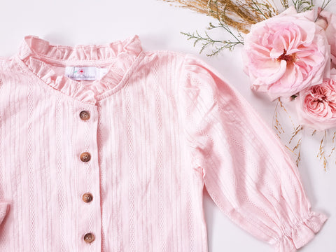 Broderie Blouse Long-Sleeved ~ Pink