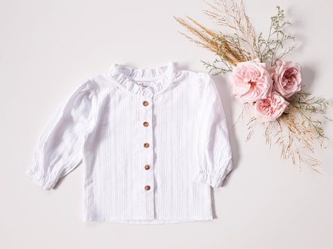 Broderie Blouse Long-Sleeved ~ White