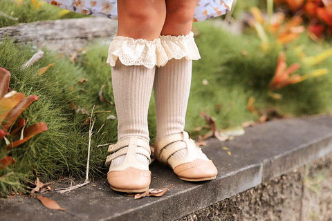 Lace Frill Socks ~ Cream, Cocoa, and Beige
