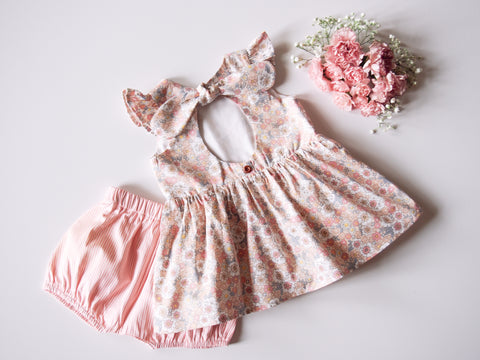 Peach Daisy Peplum Top and Shorts Set