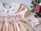 Creamy Apricot Smocked Dress