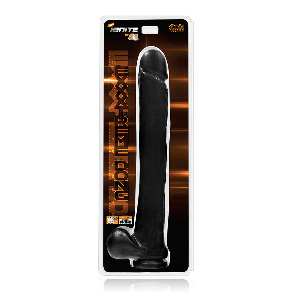 Exxtreme Dong W/ Suction Black 16in