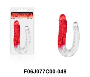 "Two Tone Toy 15.5"" U Shape Double Dong Red"