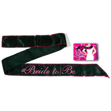 Bride To Be Sash - Black Hens Party Sash