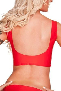 Saxenfelt Latex Top Ouvert - Red Medium - Just for you desires