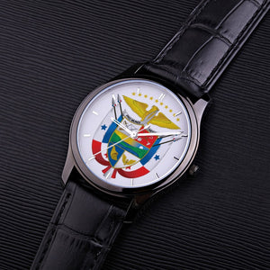 Panama Escudo Black Genuine Leader Band 30 Meters Waterproof Quartz Fashion Watch