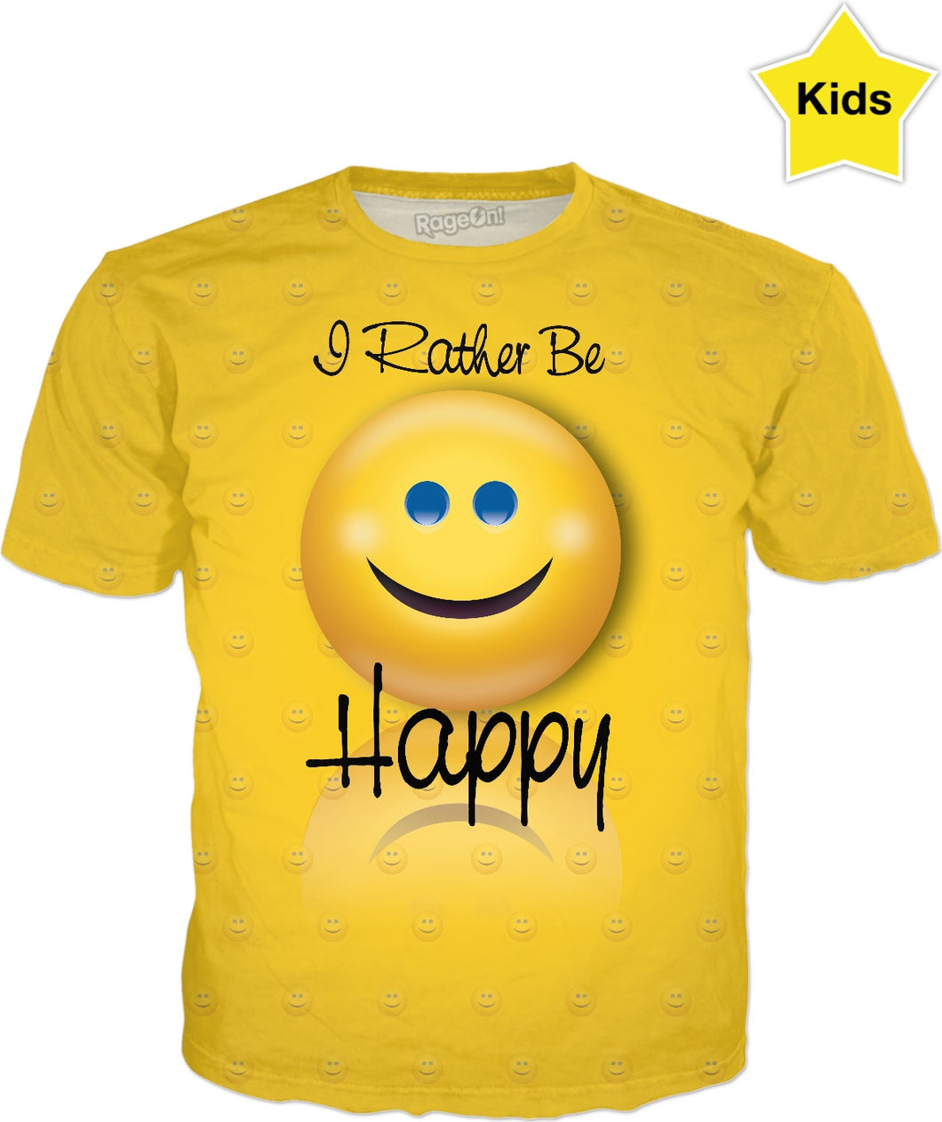 I Rather be Happy Pattern Kids T-Shirt