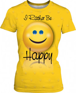 I Rather Be Happy Pattern Women T-Shirt