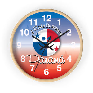 Panama Wall Clock I Rather Be Happy in Panama