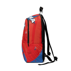 Panama Blue Red Fabric Backpack