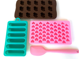 SweetEs Heart Silicone Candy Mold set with Bonus Spatula- Multi-colored pack (5 pcs)