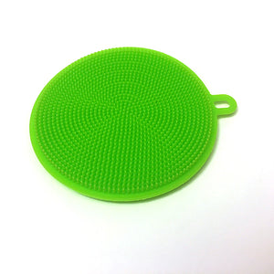 *3 Pc. Multi Purpose Anti-bacterial• Exfoliating• Silicone Sponge Set. One each green, blue & pink