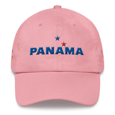 Panama 3D Puff Embroidery (Front & Back Only) in White or Pink hat