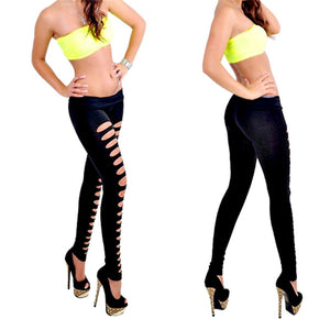 Women Irregular Hole Hollow Leggings Sexy Low Waist Black Summer Spring Fitness Slim Punk Rock Elastic Bandage Femme Pants
