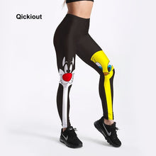 Qickitout Leggings Drop Shipping Fitness Pants Women Lovely Cartoon Cat and Duck Printed Women Cute Casual Leggings
