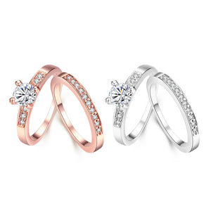 Swarovski Crystal 2 Piece Band and Ring Set in 18K Gold Plated XU2