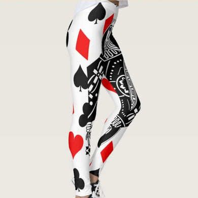 Quickitout New Arrival Black&White Poker with Sexy Red Heart in Women's Leggings Poker Diamond Print Slim Fitness Trousers S-4XL